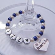 Bride To Be Personalised Wine Glass Charm - Full Bead Style